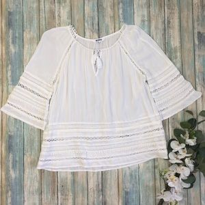 BB Dakota Tatiana White Lace Trim Boho Top Sz M